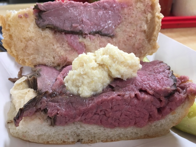 Inside a Beef on Weck Sandwich