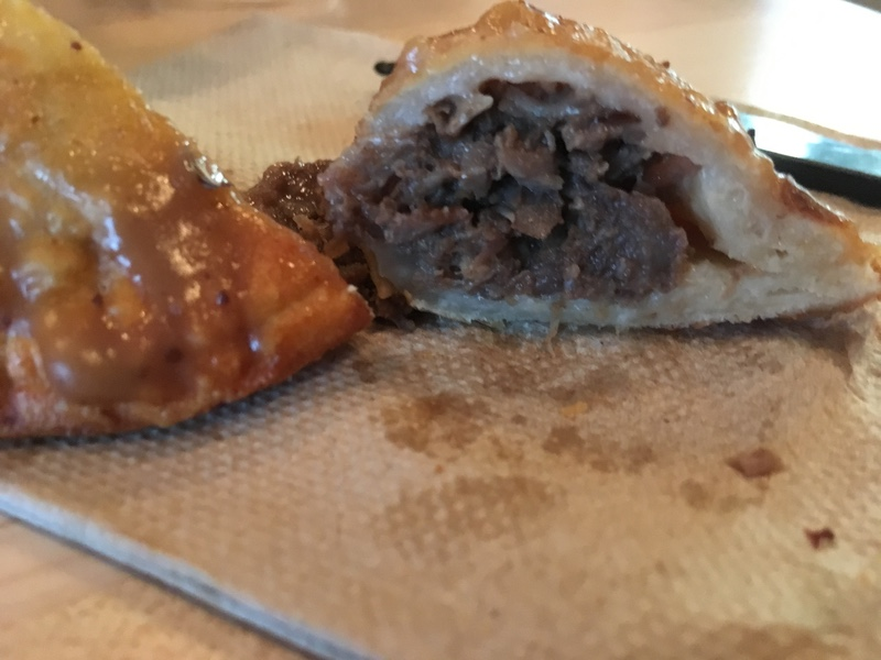 Beef-on-weck perogie cross-section