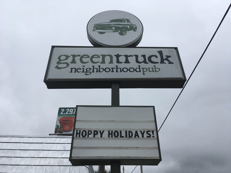 Green Truck Pub Sign Exterior
