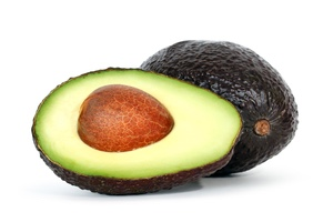 avocados over white background