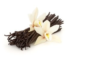 vanilla beans with two flowers on white background